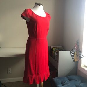 MODCLOTH RED Cap Sleeve Midi Pencil Dress Sz S
